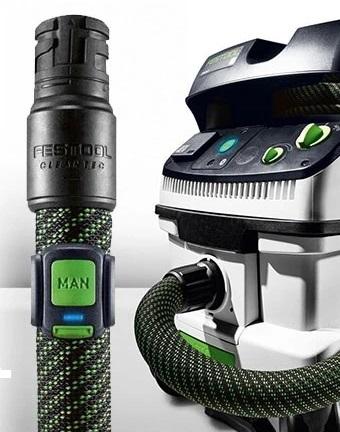 Благодаря этому обеспечивается автоматический запуск пылеудаляющего аппарата при включении инструмента