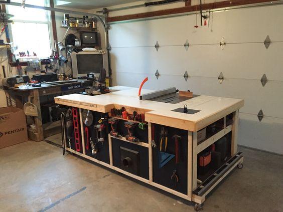 Стол или верстак может превратится и в большую единую рабочую поверхность, которая объединяет в себе в том числе и поверхности станков