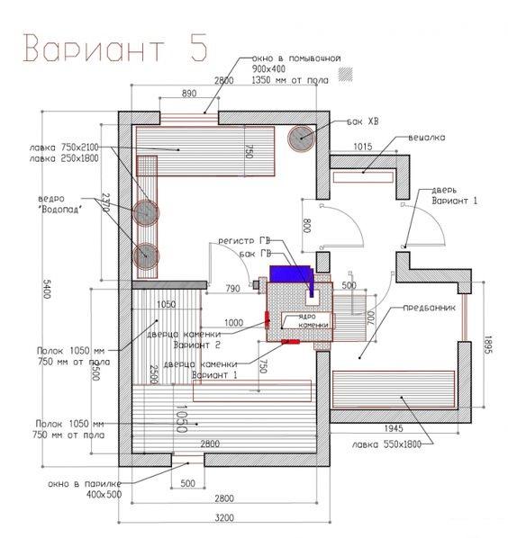План бани 6 на 4 м