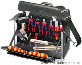 Чемодан из натуральной кожи с набором инструментов, 24 предмета KNIPEX 00 21 02 SL