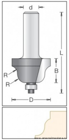 Фреза радиусная с подшипником DIMAR 34.9x20x67.5x12 R6.3 1130049
