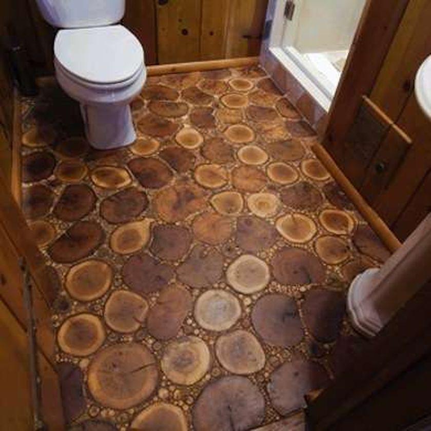 Оригинальные ванные комнаты пол из спила дерева