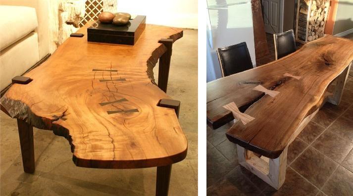 фото обеденных столов из слэбов дерева со контрастными вставками  2019