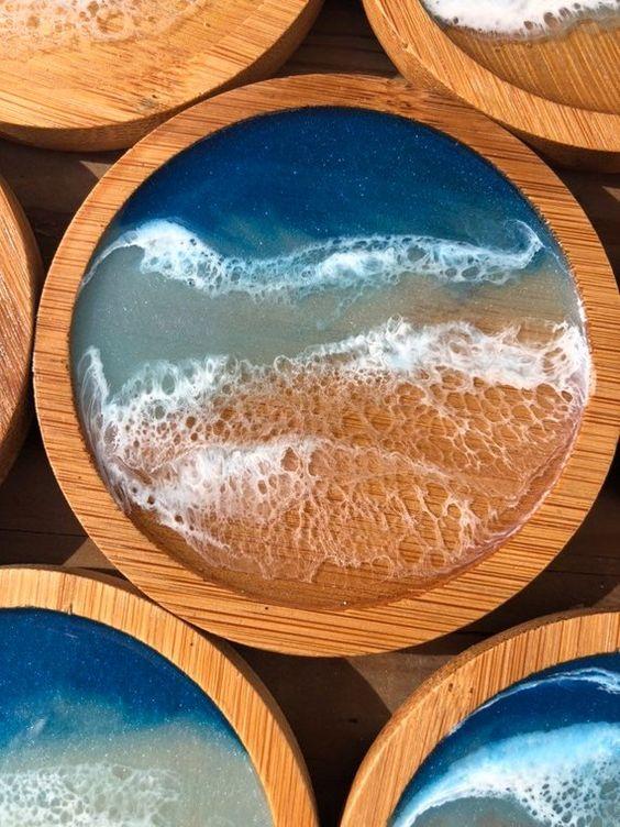 изделия из дерева с морской волной 2019