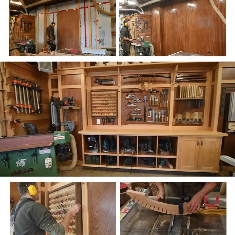 Стена для хранения ручных инструментов в Мастерской