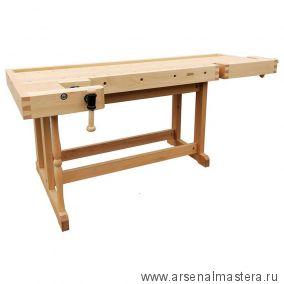 Верстак деревянный 2000 х 600 мм с лотком передние тиски - Г-образные HV511 боковые тиски - коробка HV519 М00016600